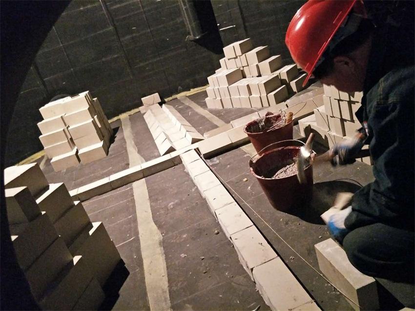 Acid proof brick construction site